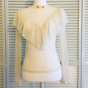 Tops - Vintage Inspired Long Sleeve Mock Neck Lace Top